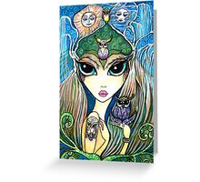 Owlete The Owl Queen, by Sheridon Rayment Greeting Card