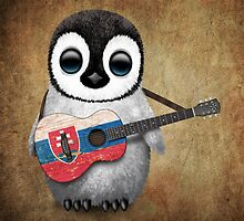 Baby Penguin Playing Slovakian Flag Guitar by Jeff Bartels