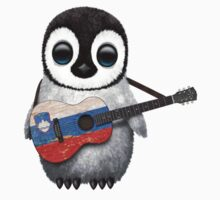 Baby Penguin Playing Slovenian Flag Guitar One Piece - Short Sleeve