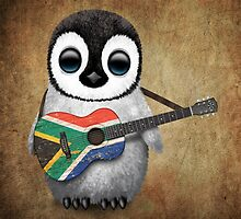 Baby Penguin Playing South African Flag Guitar by Jeff Bartels