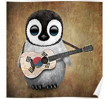 Baby Penguin Playing South Korean Flag Guitar Poster