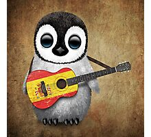 Baby Penguin Playing Spanish Flag Guitar Photographic Print