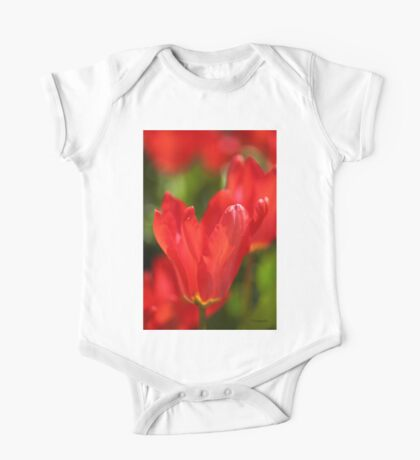 Red Tulips One Piece - Short Sleeve
