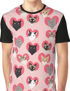 Cat Hearts valentines day love cats pattern Graphic T-Shirt