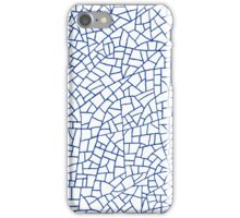 Craquelure Pattern - Navy Blue on White iPhone Case/Skin