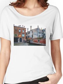 Impressions Of Venice - Side Canal Palazzi and a Charming Christmassy Bridge Women's Relaxed Fit T-Shirt