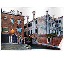 Impressions Of Venice - Side Canal Palazzi and a Charming Christmassy Bridge Poster
