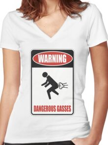 Warning - Dangerous Gasses Women's Fitted V-Neck T-Shirt