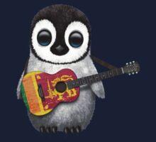 Baby Penguin Playing Sri Lanka Flag Guitar Kids Tee