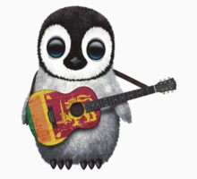 Baby Penguin Playing Sri Lanka Flag Guitar Baby Tee
