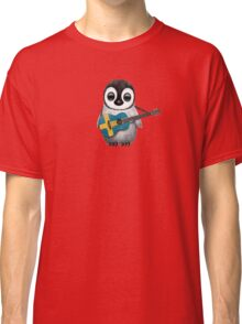 Baby Penguin Playing Swedish Flag Guitar Classic T-Shirt