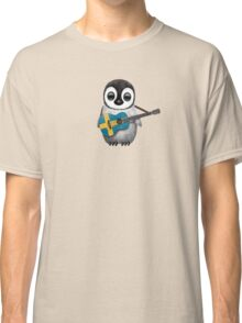 Baby Penguin Playing Swedish Flag Guitar Classic T-Shirt