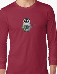Baby Penguin Playing Swedish Flag Guitar Long Sleeve T-Shirt