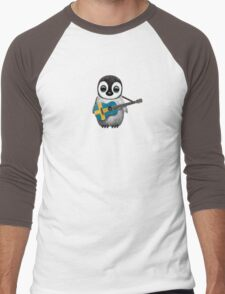 Baby Penguin Playing Swedish Flag Guitar Men's Baseball ¾ T-Shirt