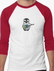 Baby Penguin Playing Swedish Flag Guitar Men's Baseball ¾ T-Shirt