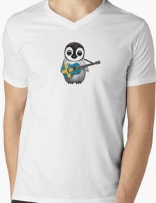 Baby Penguin Playing Swedish Flag Guitar Mens V-Neck T-Shirt
