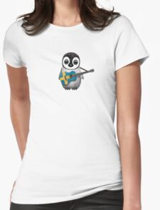Baby Penguin Playing Swedish Flag Guitar Womens Fitted T-Shirt