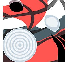 Modern Abstract Salmon, Red, Gray and White Photographic Print