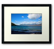 Digital art painting style landscape picture. Lake, mountain, blue sky and white clouds. Framed Print