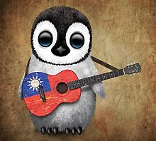 Baby Penguin Playing Taiwanese Flag Guitar by Jeff Bartels