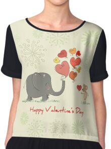 Elephant and Mouse Story of Love Valentine 2017 T-Shirt Chiffon Top