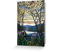 Magnolias and Irises Stained Glass Window Greeting Card