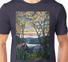 Magnolias and Irises Stained Glass Window Unisex T-Shirt