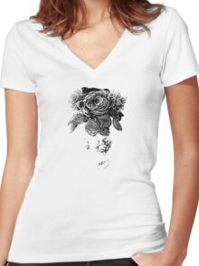 black and white beaded floral sculptural print Women's Fitted V-Neck T-Shirt