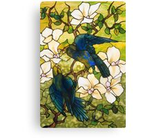 Hibiscus and Parrots Stained Glass Window Canvas Print