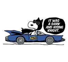 Snoopy - Batman Parody - It Was a Dark and Rising Knight Photographic Print
