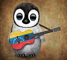 Baby Penguin Playing Venezuelan Flag Guitar by Jeff Bartels