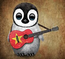 Baby Penguin Playing Vietnamese Flag Guitar by Jeff Bartels