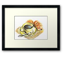 Morning Coffee with Croissants Framed Print