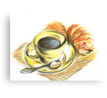 Morning Coffee with Croissants Canvas Print