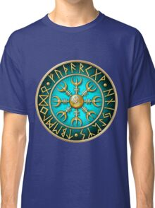 Norse Aegishjalmur Runes - Teal Classic T-Shirt