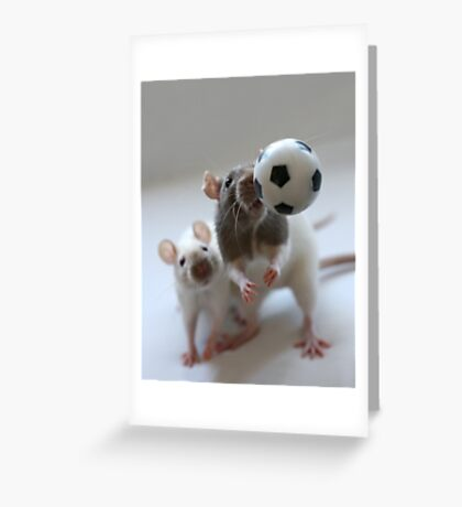 Playing soccer. Greeting Card