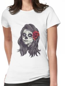 Sugar Skull Red Roses Womens Fitted T-Shirt