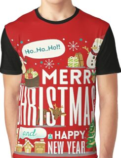 MERRY CHRISTMAS AND HAPPY NEW YEAR CUTE CARTOON Graphic T-Shirt
