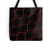 Bright Red Cubes - Black  Tote Bag