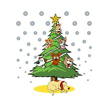 Christmas Dogs Tree Decoration Holiday Gift T-Shirt Photographic Print