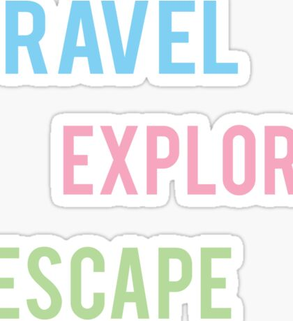 Travel Explore Escape- Pastel 3 Pack Sticker