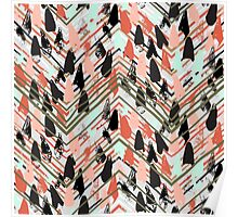 Chevron print with colorful stripes and lines Poster