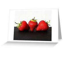 Strawberries on White over Black Greeting Card