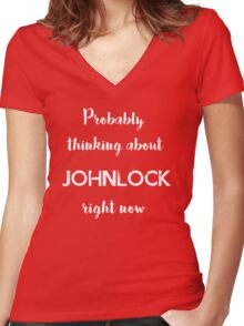 Thinking about Johnlock Women's Fitted V-Neck T-Shirt