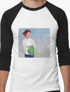 Beautiful Woman Waiting, with Crossed Hands Looking to the Horizon  Men's Baseball ¾ T-Shirt
