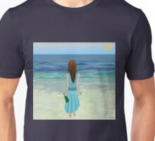 Woman Standing in Front of the Ocean with Bottle of Champagne and a Glass Unisex T-Shirt