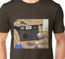 Vecor Art of a Man Taking Photo with a Vintage Rollei Camera Unisex T-Shirt