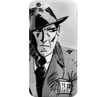 Film Noir Character with Hat, Coat and Paper on a Grey Day iPhone Case/Skin