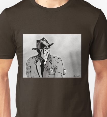 Film Noir Character with Hat, Coat and Paper on a Grey Day Unisex T-Shirt