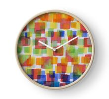 Squares on Solid Red and Blue Foundation Clock